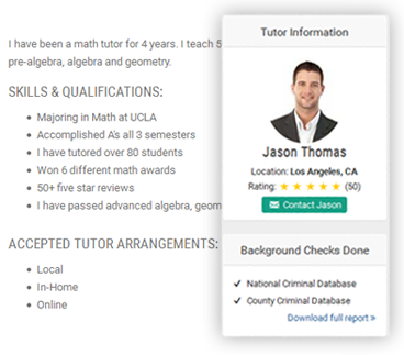 math tutor profile